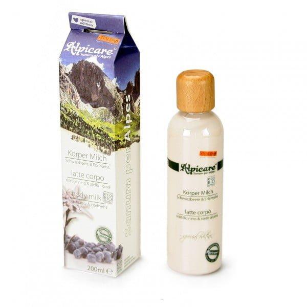 Latte corpo BIO al mirtillo nero & stella alpina